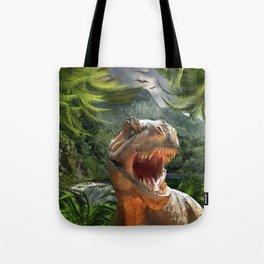 T Rex in Prehistoric Landscape Tote Bag