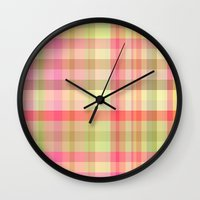 square Wall Clocks featuring Square 	 by Susann Mielke