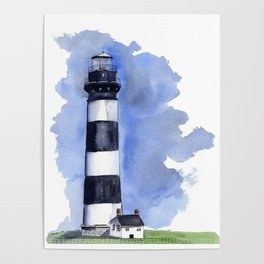 Bodie Island Lighthouse loose watercolor painting Poster