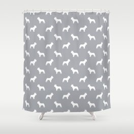 French Bulldog silhouette grey and white minimal dog pattern dog breeds Shower Curtain