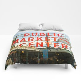 Seattle Pike Place Market Comforters