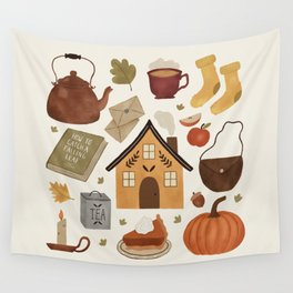 Autumn Cottage Days Wall Tapestry