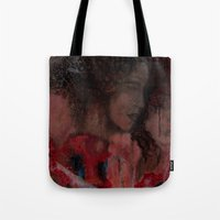 imagerybydianna Tote Bags featuring sketch study; tea time  by Imagery by dianna