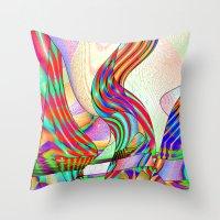 techno Throw Pillows featuring techno-doodle by David  Gough