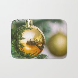 Christmas tree decorated with golden balls Bath Mat