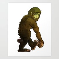 bigfoot Art Prints featuring Bigfoot by JoJo Seames