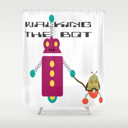 Walking the Bot Shower Curtain