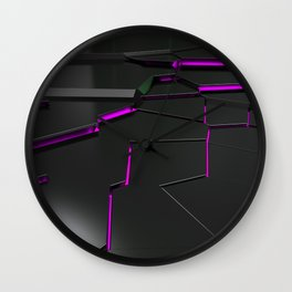 Black fractured surface with purple glowing lines Wall Clock