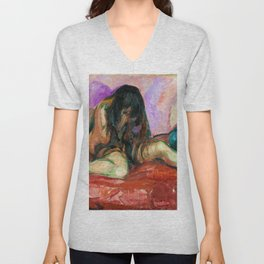 Edvard Munch - Weeping Nude - Digital Remastered Edition Unisex V-Neck