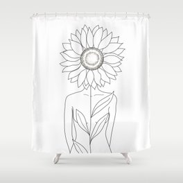 Minimalistic Line Art of Woman with Sunflower Shower Curtain