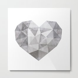 Fractal heart in shades of gray Metal Print
