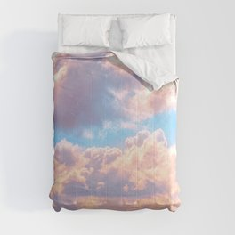 Beautiful Pink Cotton Candy Clouds Against Baby Blue Sky Fairytale Magical Sky Comforters