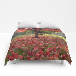 Oil crayon illustration of a red maple tree in the Boston Public Garden Comforters