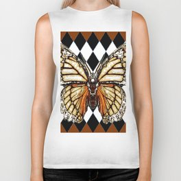 BLACK HARLEQUIN PATTERNED BROWN-WHITE  BUTTERFLY Biker Tank