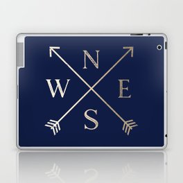 Gold on Navy Blue Compass Laptop & iPad Skin