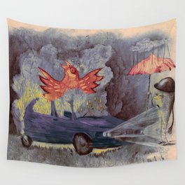 phenix in an old car Wall Tapestry