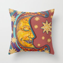 Peaceful Moon with Stars Throw Pillow