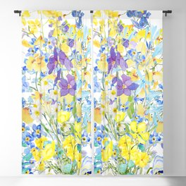 purple blue and yellow flowers bouquet watercolor   Blackout Curtain