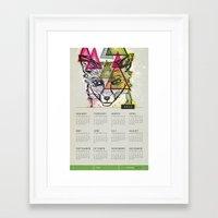 calendar Framed Art Prints featuring Fox Calendar  by Pixel Pop