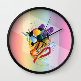 Brush strokes and soccer ball Wall Clock