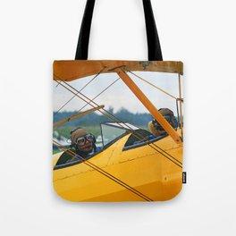 Oldtimer yellow plane Tote Bag