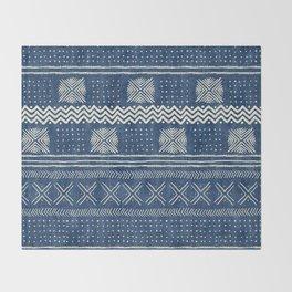 Mud Cloth Geometric Stripe Navy Throw Blanket