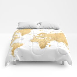 Gold world map with cities Comforters