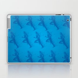Watercolor running man silhouette background in blue color pattern Laptop & iPad Skin