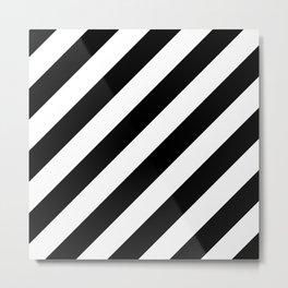 Diagonal Stripes Black & White Metal Print