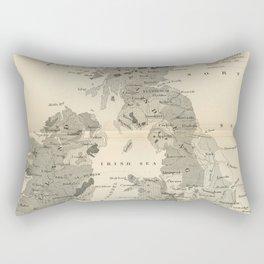Vintage and Retro Geological Map British Isles Rectangular Pillow