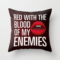 lipstick Throw Pillows featuring Lipstick by Kris Hawkins