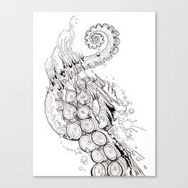 Cephalopodic Swipe (linework) Canvas Print