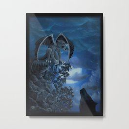 Wolfmoon - Golem with Wolf Metal Print