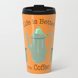 Life is Better with Coffee Illustrated Typography Travel Mug