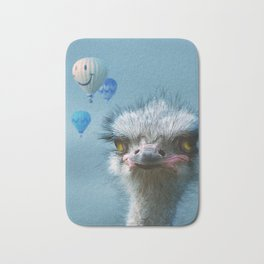 Ostrich and Balloons Whimsical Photo Bath Mat