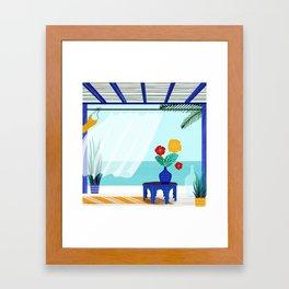 Tropical Villa Ocean View Framed Art Print