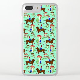 Gnome & Dachshund in Mushroom Land, Teal Background Clear iPhone Case