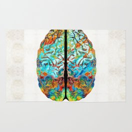 Colorful Brain Art - Just Think - By Sharon Cummings Rug