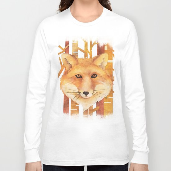 Fox in the forest- Animal abstract watercolor illustration on #Society6 Long Sleeve T-shirt