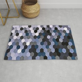 Honeycomb Pattern In Gray and Blue Wintry Colors Rug