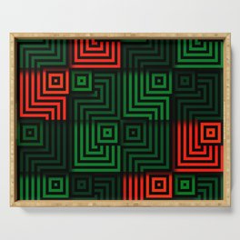 Red and green tiles with op art squares and corners Serving Tray