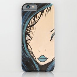 Blue and Black Hair Girl Mermaid Painting by Jodi Tomer. Figurative Abstract Pop Art. iPhone Case