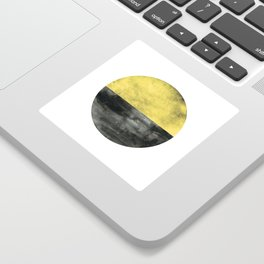 Circle art - Mustard Yellow Black - Modern Minimalist Sticker