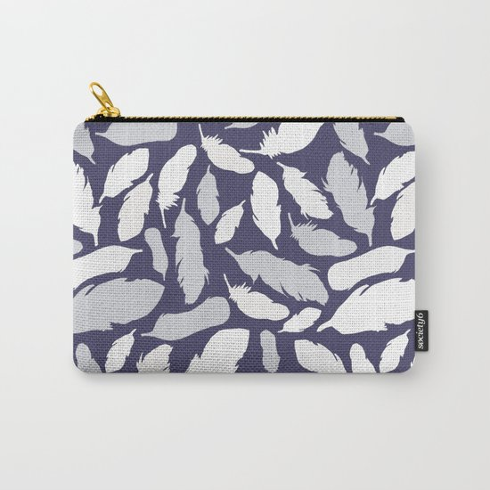 Feather Pattern Blue Carry-All Pouch
