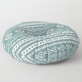Aztec Cream on Teal Mixed Motif Pattern Floor Pillow