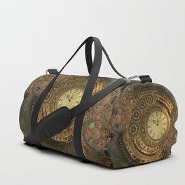 Awesome steampunk design, clockwork Duffle Bag