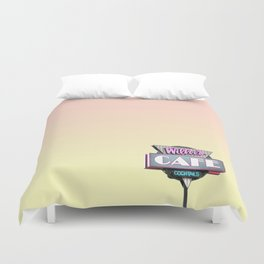 Willees Cafe and Cocktails Neon Sign Duvet Cover