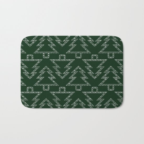 Merry Christmas- Abstract christmas tree pattern on festive green Bath Mat