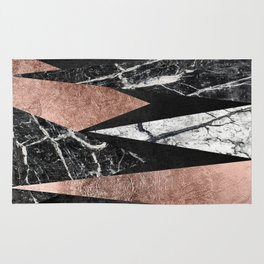 Elegant Modern Marble, Rose Gold, & Black Foil Triangles Rug