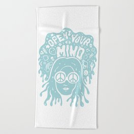Open Your Mind in Mint Beach Towel